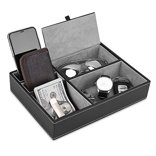 JS NOVA JUNS Valet Tray, 5 Compartments PU Leather Dresser Valet Organizer for Watches and Jewelry