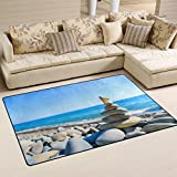 WellLee Area Rug,Nature Spa Sea Stone Butterfly Floor Rug Non-slip Doormat for Living Dining Dorm Room Bedroom Decor 31x20 Inch