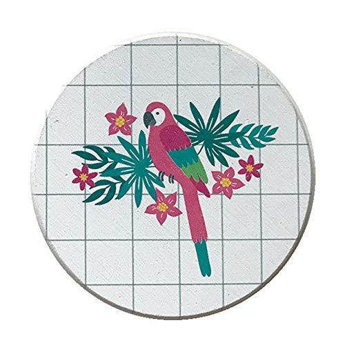 Aoruisier 1pcs Ins Diatom Mud Absorbent Coaster Environmental Plant Waterproof Round Birds Absorbent Pad by Aoruisier