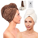 2 Pack Microfiber Hair Towel for Women - Drying Twist Wrap for Curly, Long, Thin or Short Hair – Ultra Absorbent & Anti Frizz Turban for Sleeping and Showering – BONUS Soft Headband (Ivory/Brown)