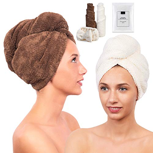 2 Pack Microfiber Hair Towel for Women - Drying Twist Wrap for Curly, Long, Thin or Short Hair – Ultra Absorbent & Anti Frizz Turban for Sleeping and Showering – BONUS Soft Headband (Ivory/Brown) by Luxeris