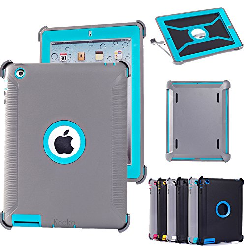 (KeckoDefender Hunting Tree Camouflage Shock-absorbing Military Duty High Impact Scratch Resistant Tough Rubber Combo Stand Case w/ Built-in Screen Protector for ipad 2/3/4 for Women/Men/Kids)