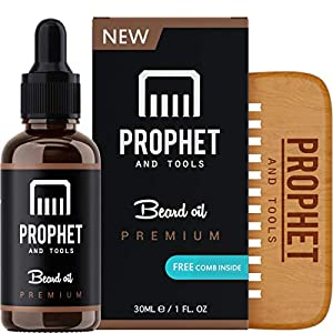 PREMIUM Unscented Beard Oil and Comb Kit for Thicker Facial Hair Grooming – The All-In-One Conditioner and Shampoo-like Softener, Shine and Fuller Beards & Mustache Growth – NUTS-FREE & VEGAN! Prophet