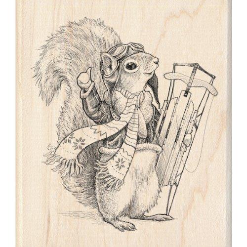 Inkadinkado Wood Stamp Squirrel Sledder