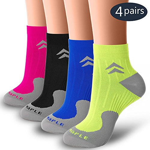 BLUEMAPLE 4 Pair Compression Socks for Women and Men, Compression ankle Socks, regular wear, fashion wear -Say Goodbye to your Pain(Assort1-S) by BLUEMAPLE