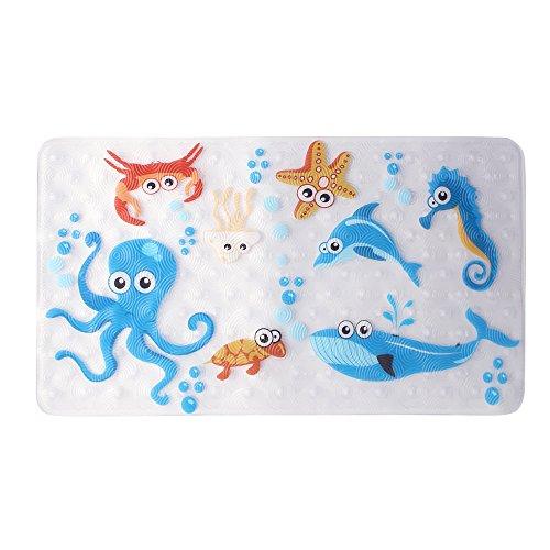 WARRAH Anti-Slip Bath Mats Tub Kids,Non-Slip Baby Shower Mats,Antibacterial, BPA, Latex, Phthalate Free,Machine Washable Kids Bathtub Mats,27.5'''' W x 15.7''L,Fits Any Size Bathtub (Sea Fish) by WARRAH