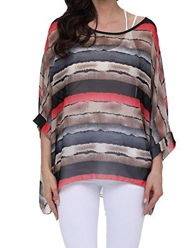 Rokou Women Chiffon Blouse Floral Batwing Sleeve Beach Loose Tunic Shirt Tops (NewC21)