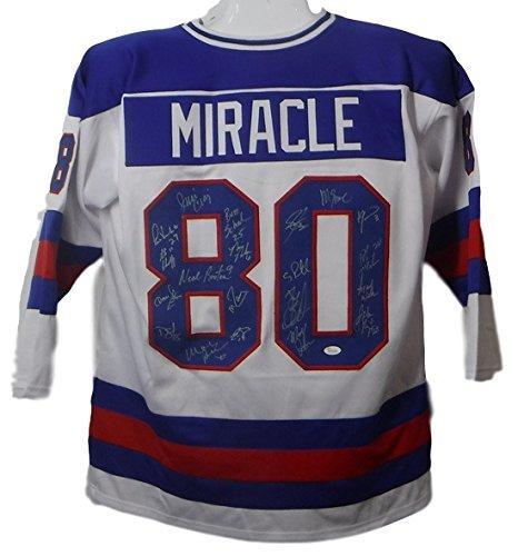 1980 USA Miracle on Ice Hockey Team Signed Size XL White Jersey (20 Sigs) JSA