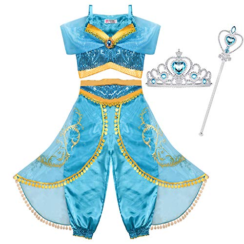 Jasmine Costume Kids with Tiara Magic Wand Princess Jasmine Dress for Girls Princess Fancy Dress Halloween Costume Cosplay Dress Up Party Outfit 3-12 Years (Age: 8-10 Years, Height 55