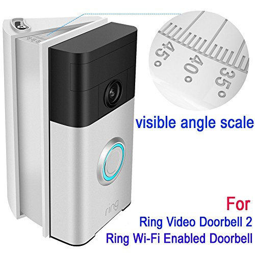 Adjustable 30 to 55 degree Angle Mount (with degree scale) for Ring Video Doorbell 2 and Ring Wi-Fi Enabled Video Doorbell, Kimilar Angle Adjustment Adapter Mounting Plate Bracket Wedge Kit, ()