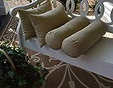 Set of 4 Indoor / Outdoor Decorative Bolster / Neckroll and Rectangle / Lumbar Pillows - Solid Tan