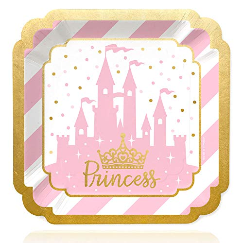 Little Princess Crown with Gold Foil - Pink and Gold Princess Baby Shower or Birthday Party Dinner Plates (16 Count) -