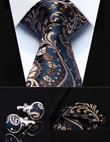 Party Wedding Classic Pocket Square Tie TZP11V8 Navy Blue Paisley 3.4