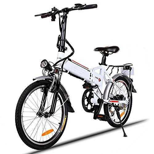 Hindom Power Plus Electric Bike with Removable Lithium-Ion Battery, Battery Charger , Aluminum Alloy 250W 36V Frame Folding Electric Mountain Bike Cycling Bicycle White (US STOCK)