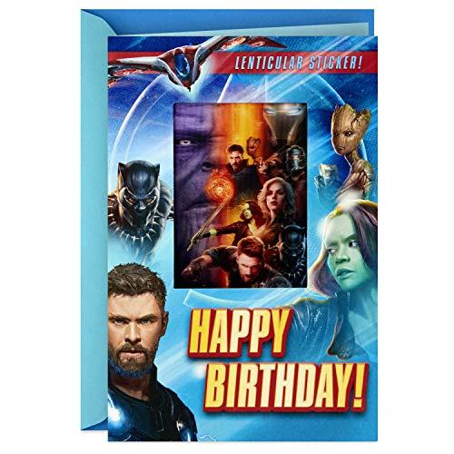 Hallmark Avengers Birthday Card with Lenticular Sticker (Happy Birthday) -