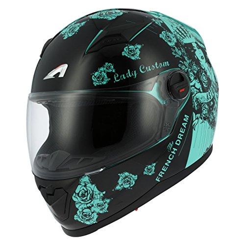 Amazon.es: Astone Helmets gt2g-ladyc-bgm casco Moto Integral GT Lady Custom, Negro/Verde, talla M
