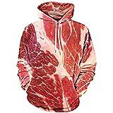 meat raw - Langstar Men's Long Sleeve Raw Meat Print Kangaroo Casual Pocket Pullover Hoodie (Red, L)