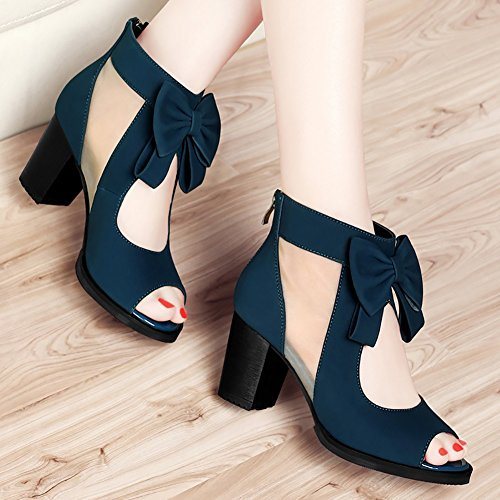 Color blue High 34 Legging Black Leak Cutout 5cm Female Sandal Heeled Slipper Mesh Size with Bowknot 6 Heel Mature qUwEgwOaWx