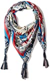 Johnny Was Women's Patterned Silk Square Scarf with Tassels, Vacation Multi O/S