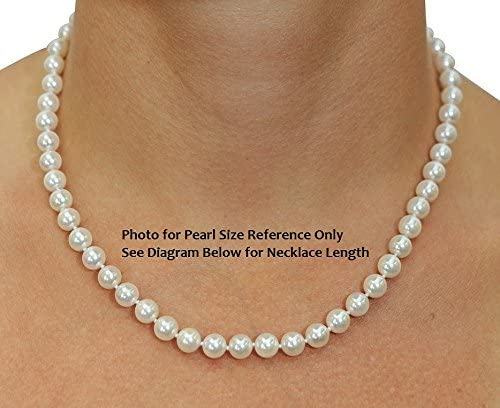 THE PEARL SOURCE 14K Gold 6.5-7.0mm Round Genuine White Japanese Akoya Saltwater Cultured Pearl Necklace in 24 Matinee Length for Women