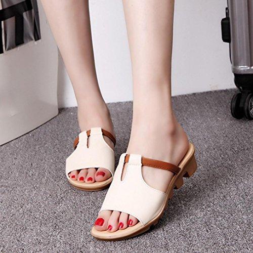 bescita Cut Out Sandalen Fashion Solid Sommerstrand gleitet Hausschuhe Damenschuhe (35, Beige)