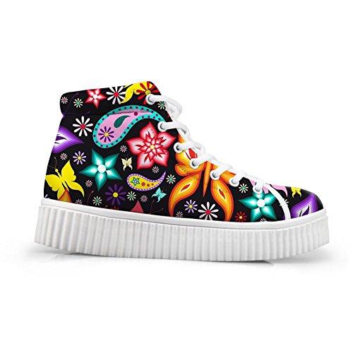 Butterfly Platform HUGSIDEA Fashion Flower 2 Sneakers Top Women Shoes High O18qxOw