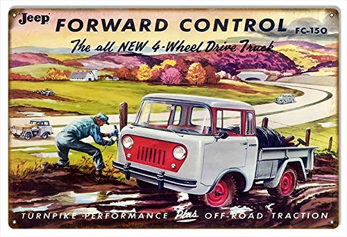 TYmall Decor Sign Jeep Forward Control Coffee Houes or Home Metal Tin Sign 8X12 Inches