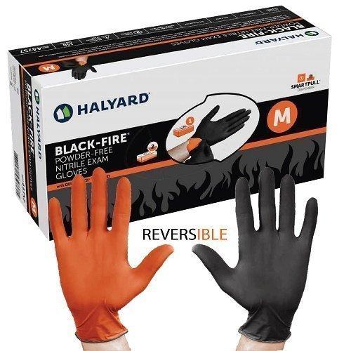 Halyard Health BLACK-FIRE 44758 Nitrile Exam Gloves, Large, Black/Orange (Pack of 150)