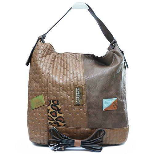 Damen Handtasche Shopper Tote Bag Tasche gesteppt mit Schulterriemen Braun