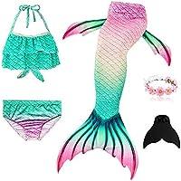Cutiecute Newest 3 Pcs Mermaid Swimming Suit Plus Fin for Swimming Mermaid Bathing Suits Swimsuit Bikini Set(With Garland)