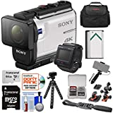 Sony Action Cam FDR-X3000R Wi-Fi GPS 4K HD Video Camera Camcorder & Remote + Helmet Mounts + 64GB Card + Battery + Case + Selfie Stick + Tripod Kit For Sale