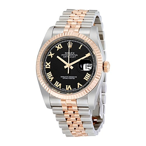 Rolex Oyster Perpetual Datejust 36 Black Dial Stainless Steel and 18K Everose Gold Rolex Jubilee Automatic Mens Watch 116231BKRJ