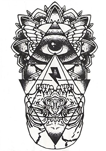 Hb 051 Flash Tattoo Blanco Y Negro Esoteric Eye Pyramid Skull