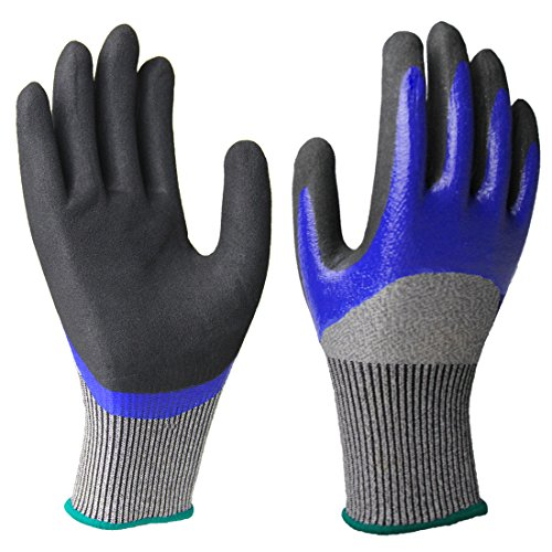 Cut Resistant Gloves, Double Nitrile Coating Non-Slip Water-Proof Work Gloves, Improved Dexterity Breathable Comfortable for Gardening Fishing Clamming Mechanic Multipurpose - Glasses Fishing Best