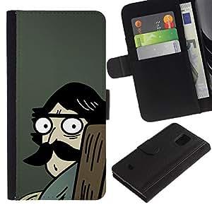 Samsung Galaxy S5 Mini / SM-G800 (Not For S5!!!) , la tarjeta de Crédito Slots PU Funda de cuero Monedero caso cubierta de piel ( Man Moustache Big Drawing Cartoon Blue)