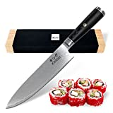KINGU CUTLERY BLACK SERIES | 8inch Chef Knife | Carbon Japanese VG-10 Stainless Steel Blade - Razor Sharp 67 Layers Steel with Black Pakka Wood Handle, Mosaic Pin | Traditional Designed Oak Wooden Box