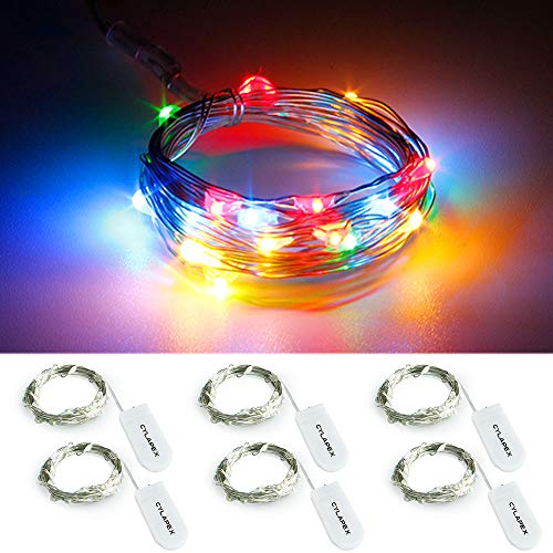 CYLAPEX 6 Pack Multicolor Fairy String Lights Battery Operated Fairy Lights Firefly Lights Micro LED Starry String Lights on 7.2ft/2m Silvery Copper Wire for DIY Christmas Decoration Costume Wedding