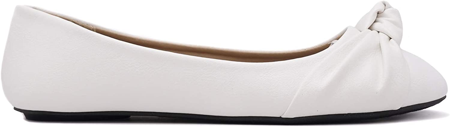 Womens Knotted Front Canvas Round Toe Ballet Flats-Comfortable Cute Dress Flats