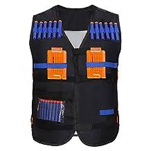 Yosoo Kids Elite Tactical Vest with 20 Pcs Soft Foam Darts for Nerf Gun N-strike Elite Series (Not Including 2 Clips)