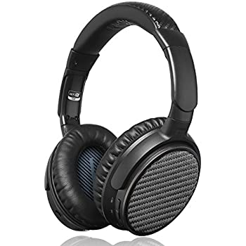 Active Noise Cancelling Bluetooth Headphones, iDeaUSA Wireless Over Ear Headphones with Microphone apt-X HiFi Stereo Sound Headphones for TV, Airplane, Christmas Gift, 25 Hours Playback - Black