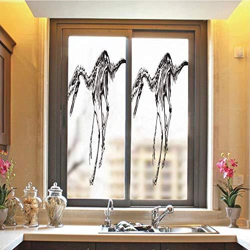 Dinosaur 3D No Glue Static Decorative Privacy Window Films, Skeleton Prehistoric Wild Animal Raptor Predator Bones Extinct Species Archeology Decorative,17.7