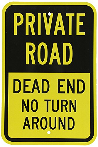 (Sticker Tiger Metal Sign - Private Road - Dead End No Turn Around, 8