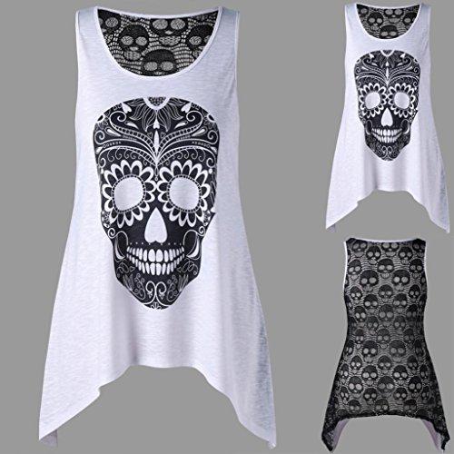 pissure Impression Tops Vest Dentelle Femme Sexy Camisole t T Manche Dbardeur Crane Gilet Shirt sans Mode Blanc Sexyville Cx8YqwXw