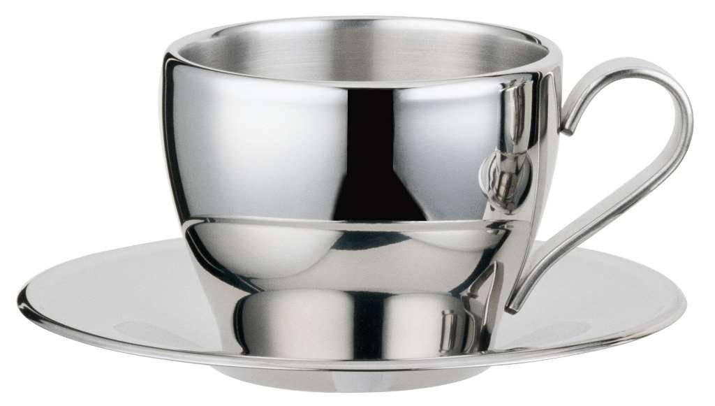 Visol''Capuccino'' Stainless Steel Double Walled Cup with Saucer, Chrome