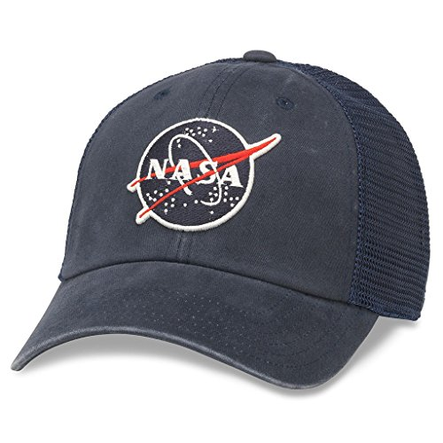 American Needle Raglan Bones Curved Brim Patch Baseball Hat, NASA, Navy Blue American Needle Embroidered Cap