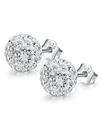 Neoglory Jewelry Platinum Plated White 925 Sterling Silver Round Top Cubic Zirconia Drop Stud Earrings