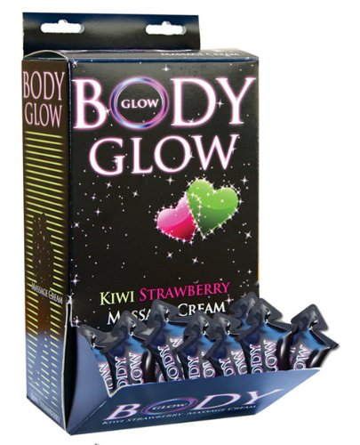 Body Glow Kiwi Strawberry Massage Cream 10ml Pillow Packs - Display of 50 by Hott Products by Hott Products