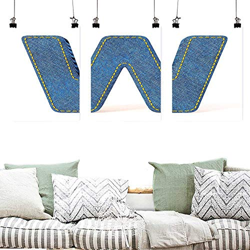 Agoza Printing Oil Painting Letter W Symmetrical Latin Letter Capital W with Blue Jean Pattern Typography Design Print Painting Home Decor Prints Posters 3 Panels 16x24inchx3pcs Blue Yellow -