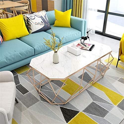 Winkel Nordic marmer koffietafel, eenvoudige kleine salontafel moderne ijzeren bank bijzettafel met stevig metalen frame, (wit, 100 x 50 x 45 cm)  uqpiRPi