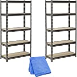 Muscle Rack UR301260PB5P-SV Silver Vein Steel Storage Rack, 5 Adjustable Shelves, 4000 lb. Capacity, 60'' Height x 30'' Width x 12'' Depth, 2-Pack with Dust Wipe Cloth